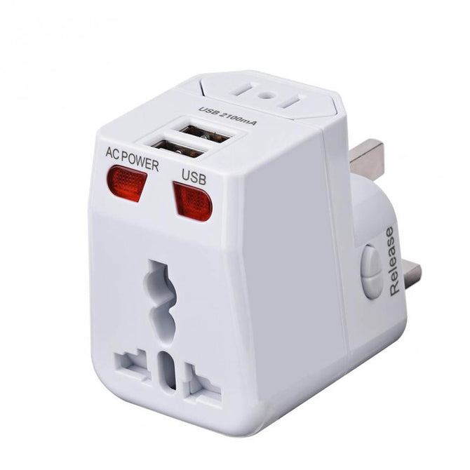 BSTUO Dual USB Charging Port All in One Universal Worldwide Travel Wall Charger, AC Power AU UK US EU Plug Adapter