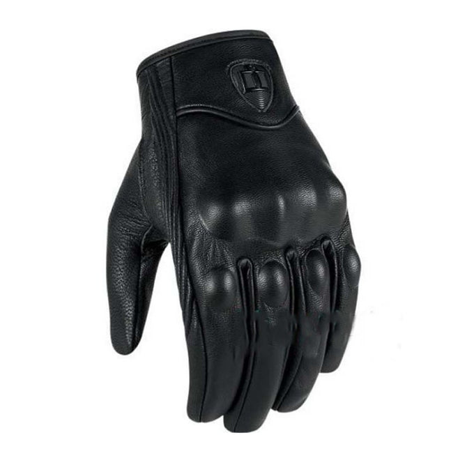 Real Leather Motorcycle Gloves, Windproof Warm Moto Bike Cycling Glove Motocross Protective Gear (1 Pair) Black/M