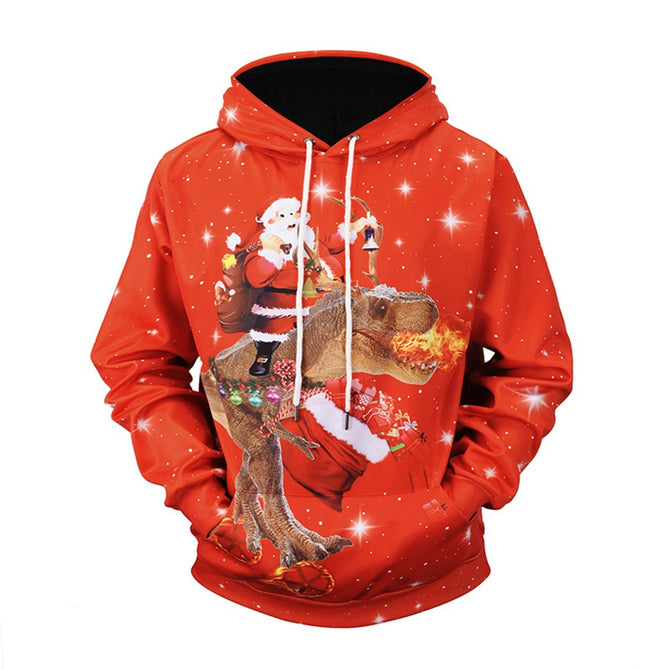Christmas Autumn Winter Casual Hooded Hoodies Red 3D Print Santa Claus Dinosaur Loose Sweatshirts For Men Red/L