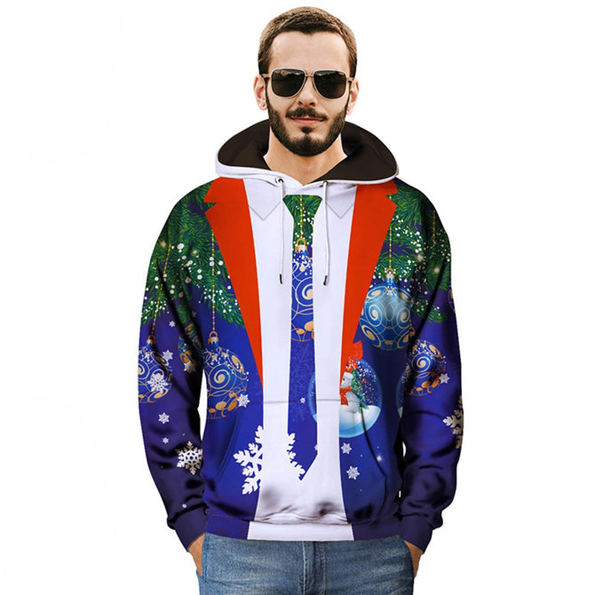 Creative Fake Two-Piece Christmas Printing Hoodies, Casual Loose Hooded Sweatshirt For Men Blue/XXXL