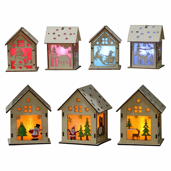 Festival LED Light Wood House, Christmas Tree Hanging Ornament, Holiday Nice Xmas Gift Wedding Decoration (L) Red