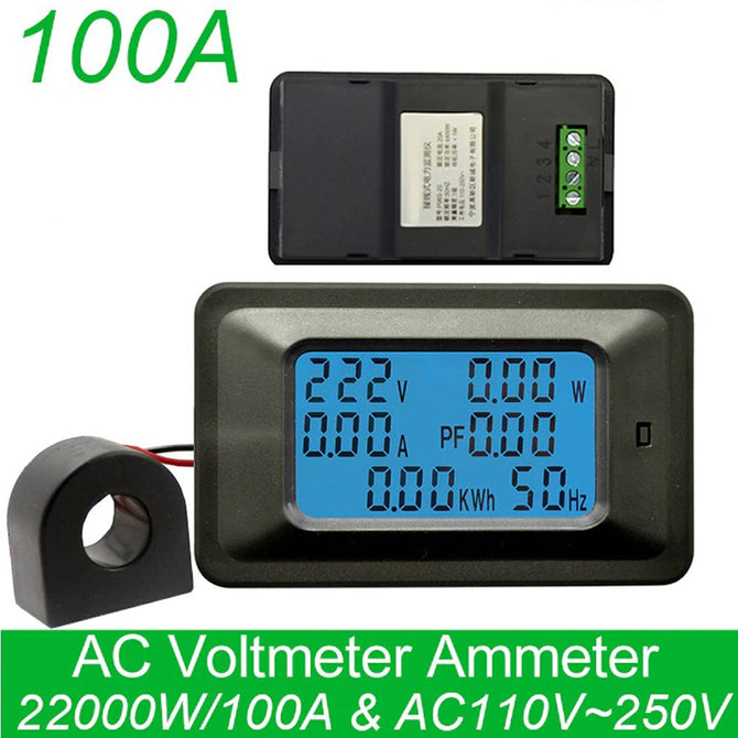 100A Digital Voltage Meter Indicator, Power Energy Voltmeter Ammeter, Current Amps Volt Wattmeter Tester Detector Black