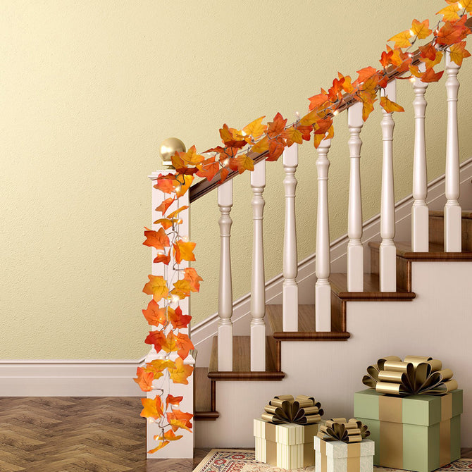 Maple Leaves LED String 3M 20LED Autumn Stair Railing Decoration Plants Fence Party Lights AA Battery Operated