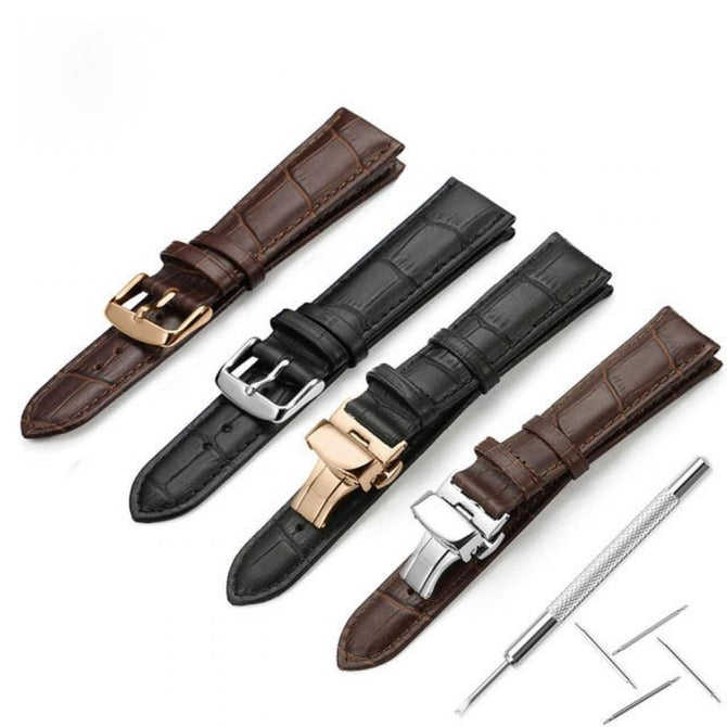 Watchband Soft Calf Genuine Leather Watch Strap Alligator Grain Watch Band for Tissot Seiko 18mm 19mm 20mm 21mm 22mm 24mm 18mm/Brown and Rosegold P