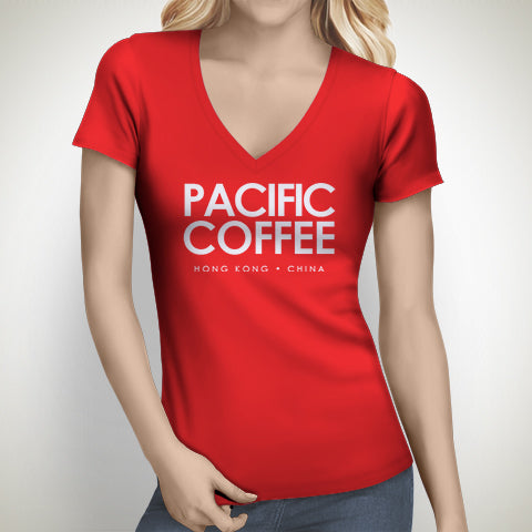 Womens Pacific Coffee V-Neck T-Shirt - Merchandise