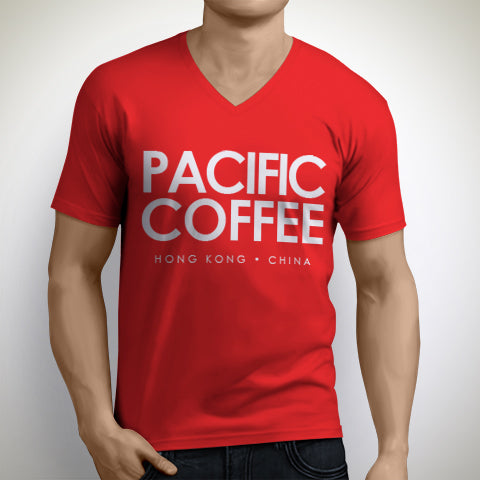 Mens Pacific Coffee V-Neck T-Shirt - Merchandise