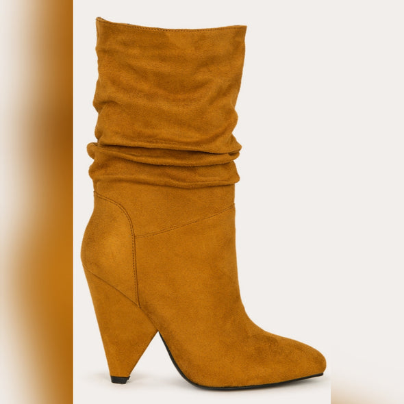 Pointy Toe Ruched Mid Calf Boot