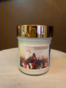 Santa's Tree label on Soy Candle with a wooden wick