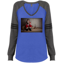 Load image into Gallery viewer, DM477 District Made Ladies' Game LS V-Neck T-Shirt