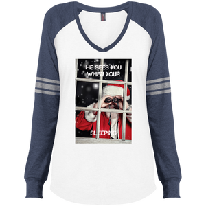 DM477 District Made Ladies' Game LS V-Neck T-Shirt