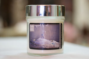 """Hope,"" art by Shanna Koltz on a Soy candle with crackling wooden wick in a 10oz Glass Jar with a shiny lid"