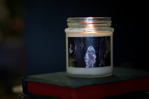 """Poison Apple"" Soy Candle with Crackling wood wick in 10oz Glass Jar with Metallic Lid, inspired by Shattered Fairytale Collection by Koltz"