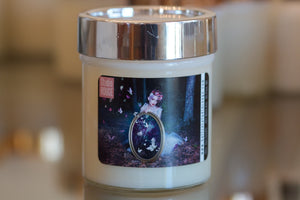"""Letting Go,"" art by Shanna Koltz on a Soy candle with crackling wooden wick in a 10oz Glass Jar with a shiny lid"
