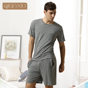 Gray Striped Night-suite Set