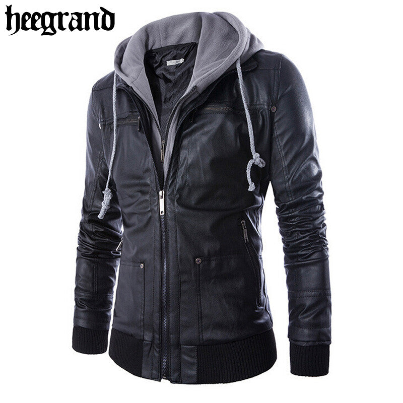 Solid Hooded PU Leather Jacket