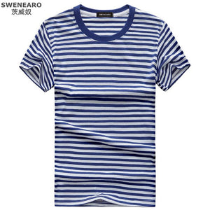 Blue and white Striped Men's T-shirt