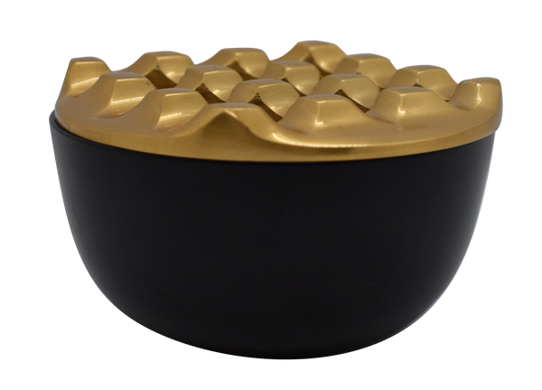 Ashtray Dunes Round Matt Black & Brass