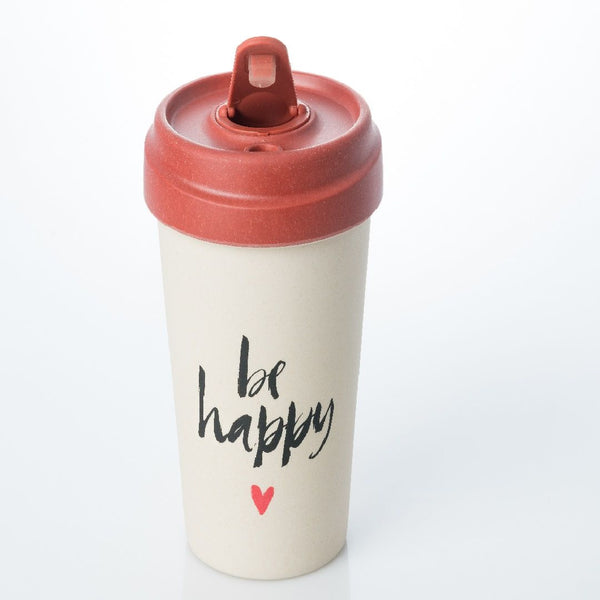 ChicMic Bamboo Travel Mug 400ml - Happy Calligraphy