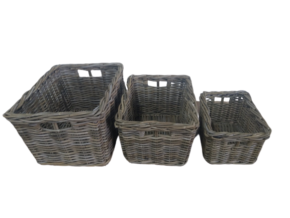 Rectangular Storage Basket - Grey