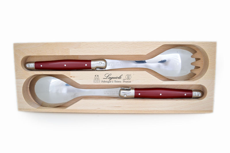 Laguiole Salad Set - Cherry Red 2pc - Wooden Box