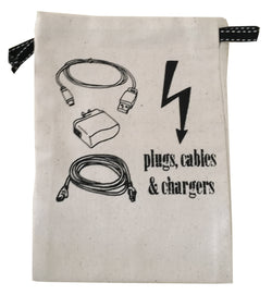 Travel bag plugs and cable