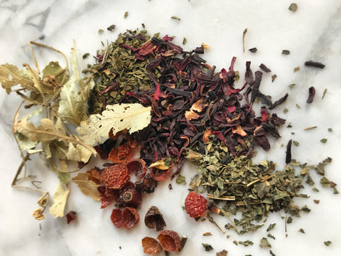 Chill Out Herbal Tea Recipe - Lemon Balm, Peppermint, Linden, Hibiscus, Rose Hips - by Wild Sun Wellness, Adaptogenic Herbal Blends