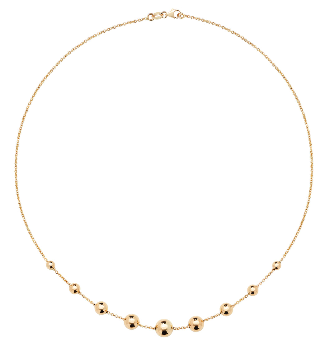 9ct Yellow Gold half ball necklet