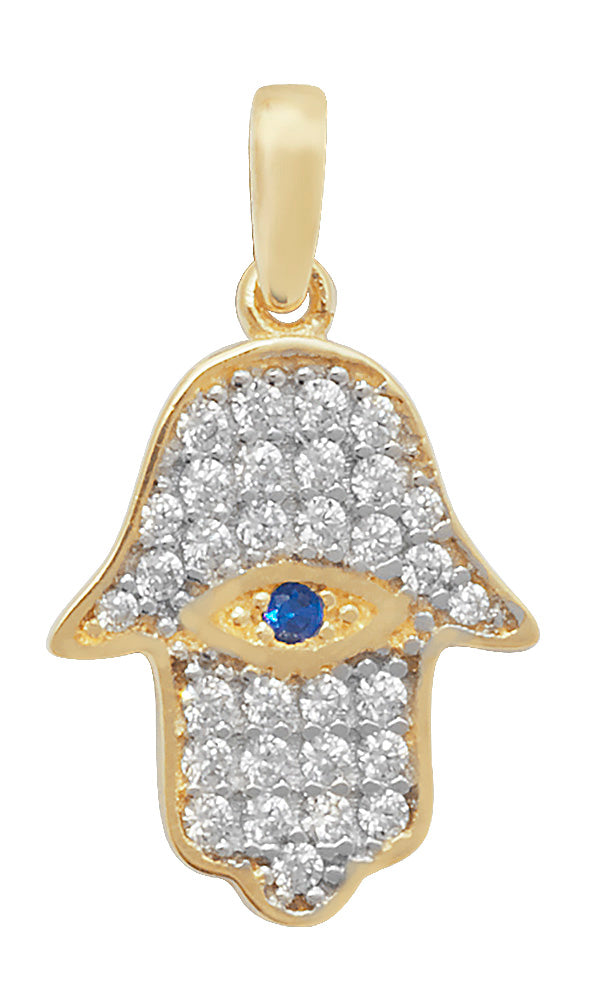 Zircon Hamsa and eye pendant