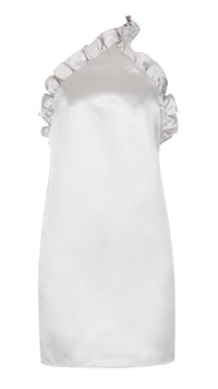 XO, Silver Ruffle Satin Mini Dress