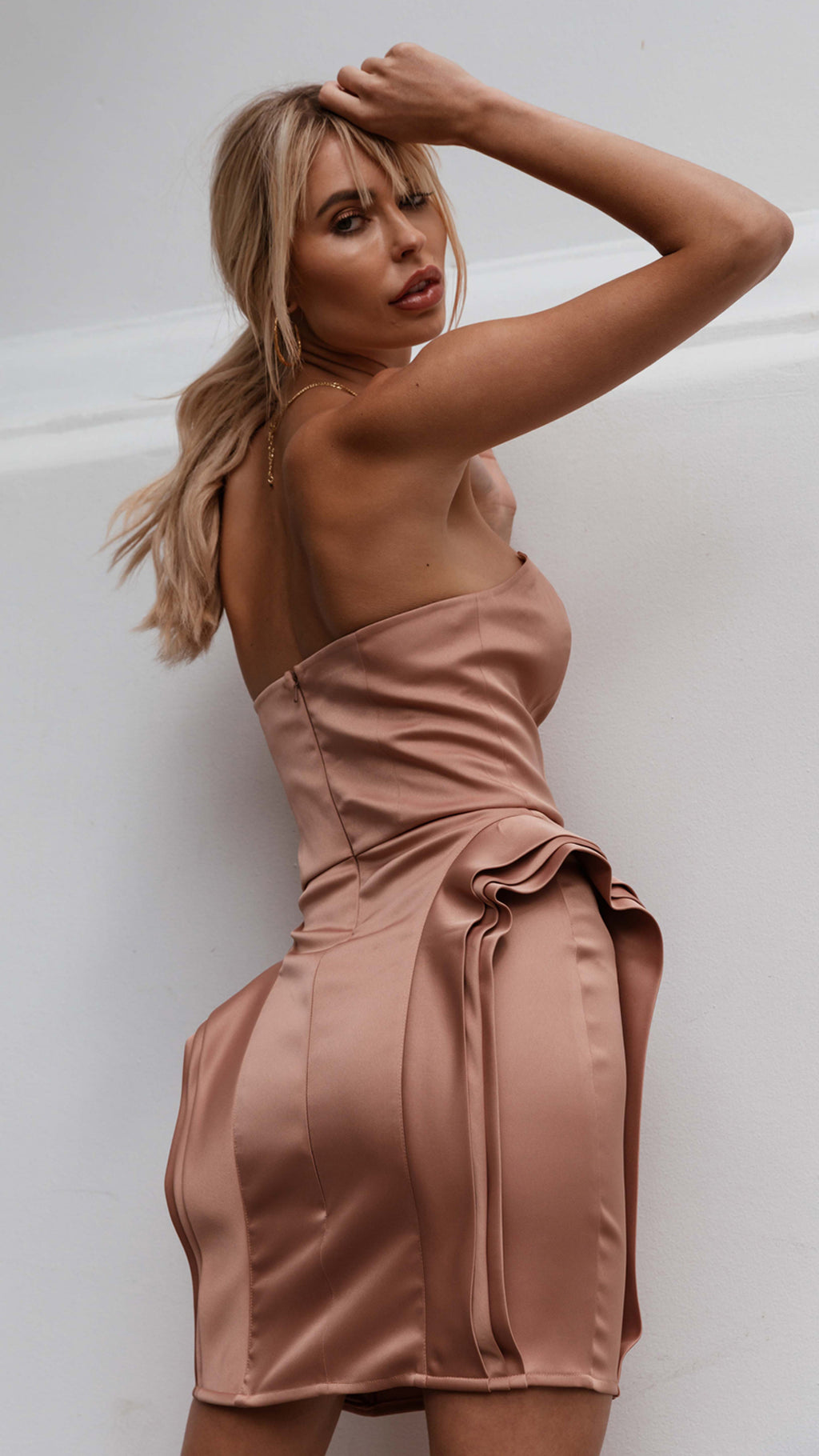 3 - Dimension, Coral Strapless Satin Dress