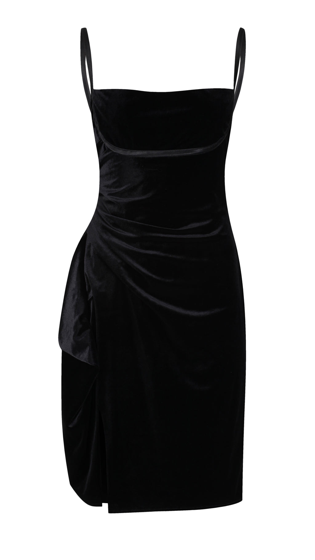 Le Noir, Black Velvet Midi Dress