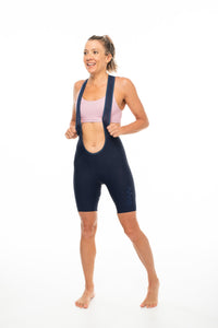 women's LUCEO bib shorts - navy/blue logo