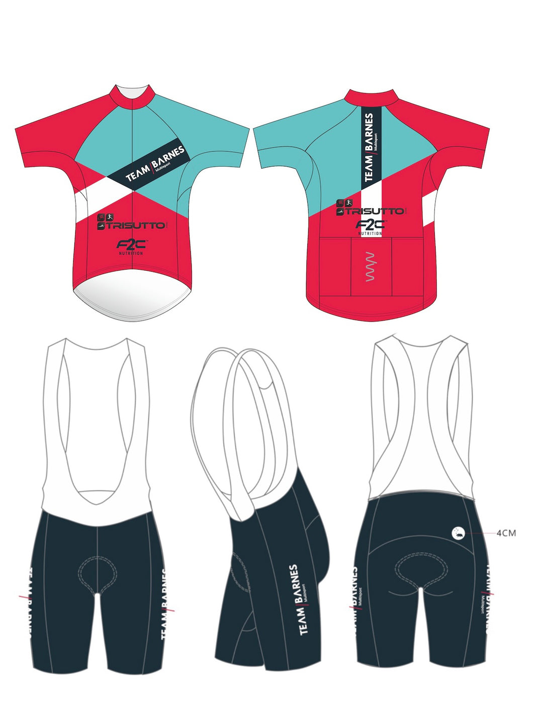TEAM BARNES premium cycling kit (jersey + bib shorts) - men's