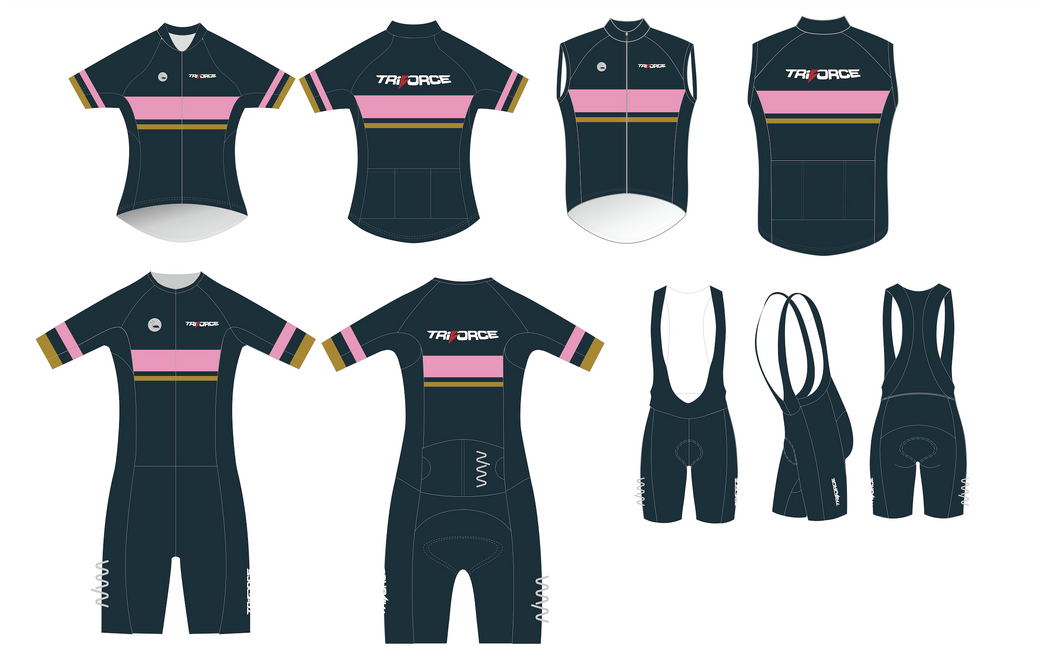 Tri Force custom package - Velocity+ Tri Suit, Premium Cycling Jersey, Velocity Bib Shorts, Premium Wind Vest