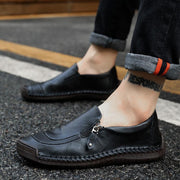 Men Hand Stitching Zipper Slip-Ons Leather Shoessecond -30% By Codebts30 Shoes