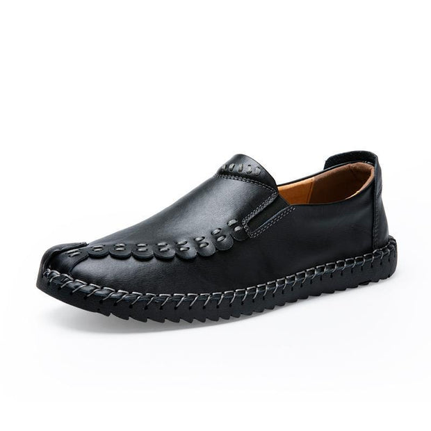 Mens Leather Shoes Mens Of The Four Seasons Pure Hand-Made Set Foot 115807 Black / Us 5.5 Men Shoes