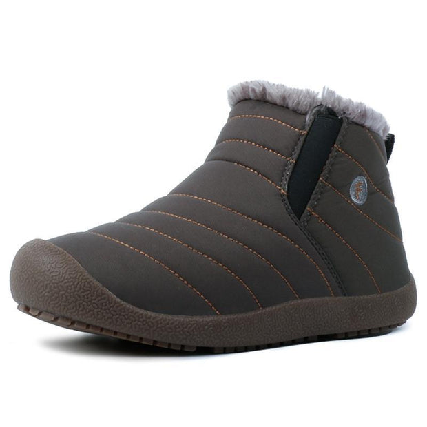 Men And Women Thickening Faux Fur Lining Winter Water-Resistant Ankle Boots Flat 116222 Grey / Us