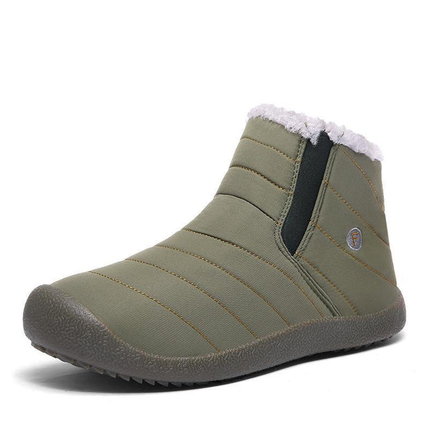 Men And Women Thickening Faux Fur Lining Winter Water-Resistant Ankle Boots Flat 116222 Khaki / Us
