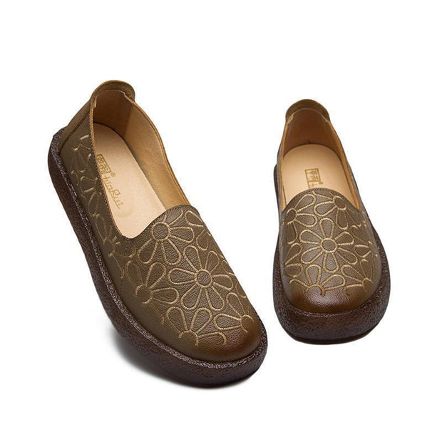 Women Embroidered Soft Bottom Comfortable Cowpea Shoes 116386 Khaki / Us 4