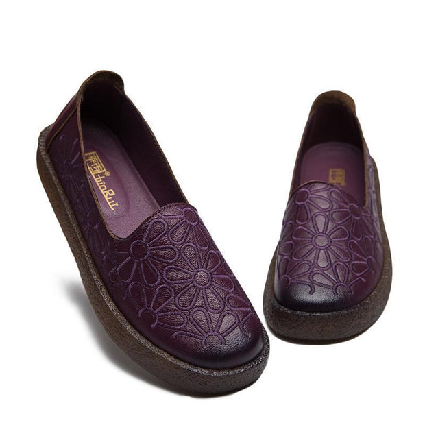 Women Embroidered Soft Bottom Comfortable Cowpea Shoes 116386 Violet / Us 4