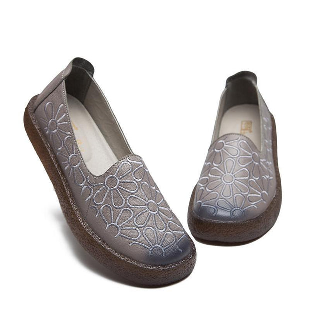 Women Embroidered Soft Bottom Comfortable Cowpea Shoes 116386 Gray / Us 4