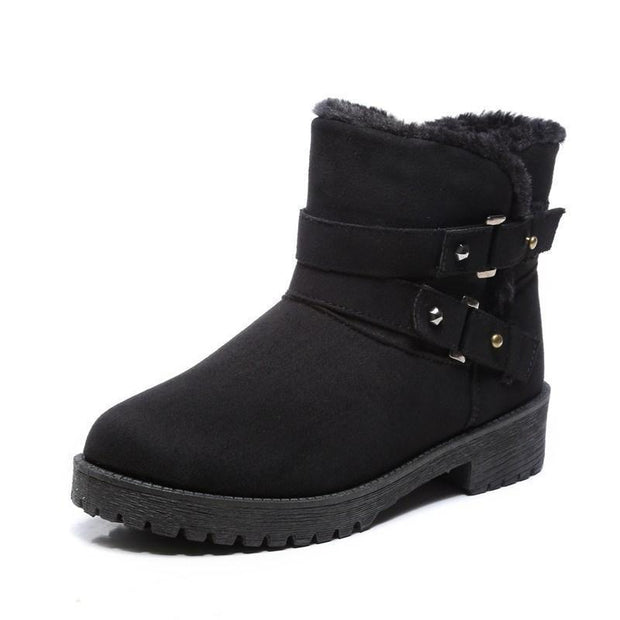 Women Fur Lined Warm Suede Casual Short Snow Boots 116766 Black / Us 4 Shoes