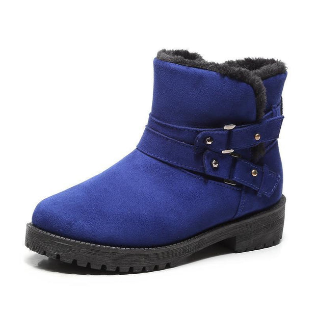 Women Fur Lined Warm Suede Casual Short Snow Boots 116766 Blue / Us 4 Shoes