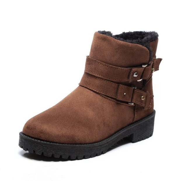 Women Fur Lined Warm Suede Casual Short Snow Boots 116766 Brown / Us 4 Shoes
