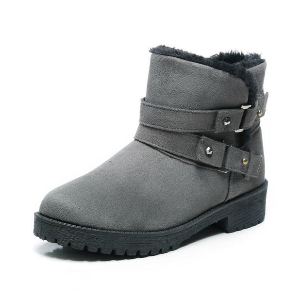 Women Fur Lined Warm Suede Casual Short Snow Boots 116766 Gray / Us 4 Shoes