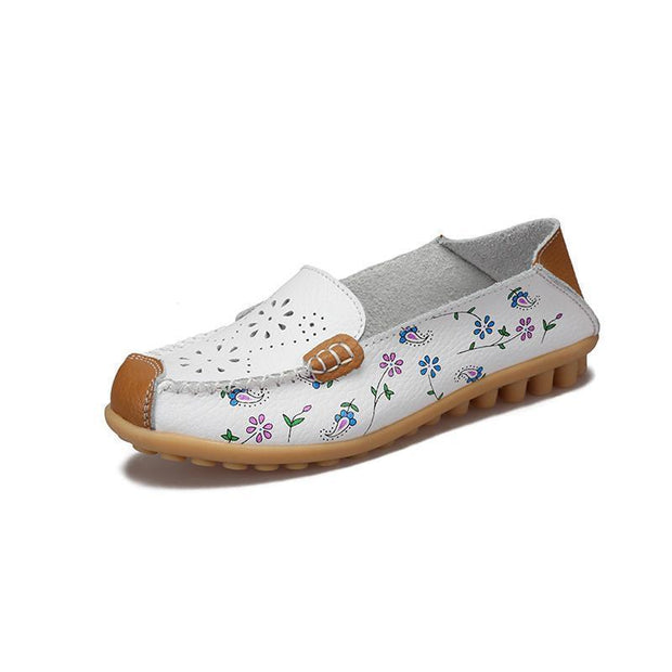 Women Leather Peas Flat Shoes 116912 White / Us 4