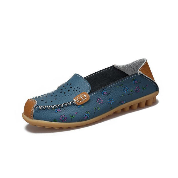 Women Leather Peas Flat Shoes 116912 Blue / Us 4