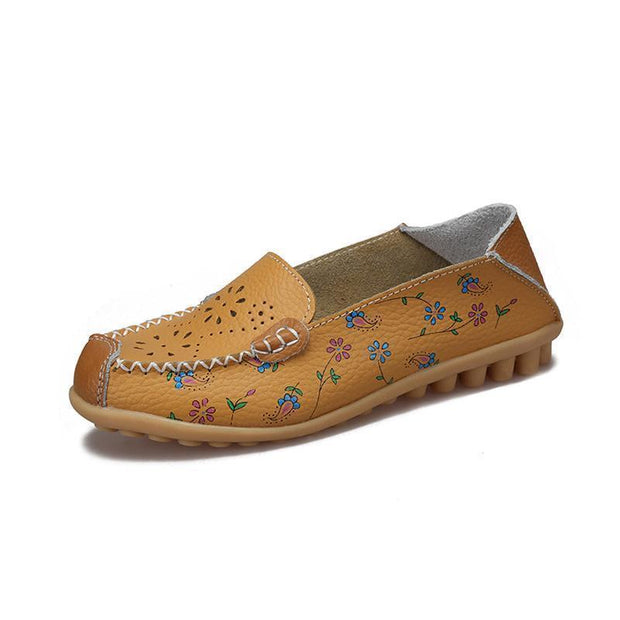 Women Leather Peas Flat Shoes 116912 Yellow / Us 4