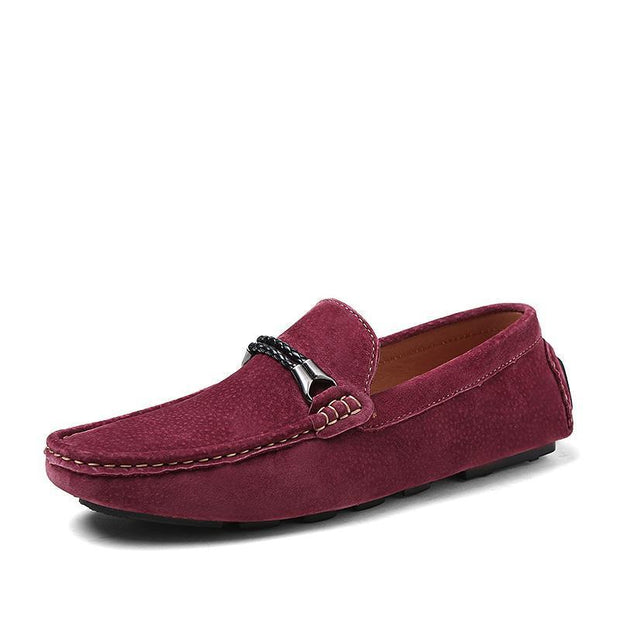 Mens Leather Casual Peas Shoes 116933 Wine Red / Us 6.5 Men Shoes