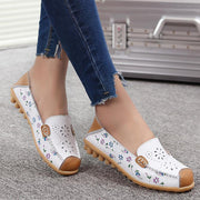 Women Leather Peas Flat Shoes